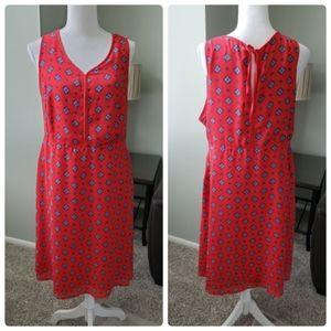 dip Red Sleeveless Medallion Print Side Zipper Dre